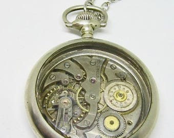 "Steampunk Pocket watch Pendant necklace - ""Every Moment Counts"" - Pocket Watch Case - Unisex - One of a kind- Upcycled wearable art"