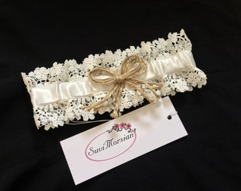 A rustic white wedding garter, lace wedding garter,