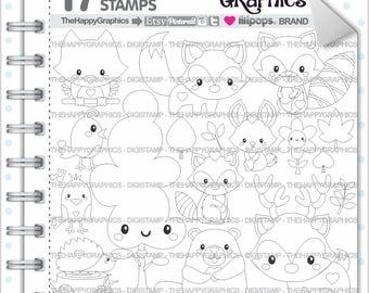 Woodland Stamp, 80%OFF, COMMERCIAL USE, Digi Stamp, Woodland Digistamp, Kawaii Stamps, Woodland White Black, Animal Stamp, Animal Digistamp