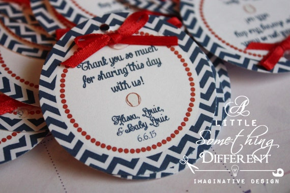 Baseball Themed Favor Tags / Baseball Party Decorations / Red