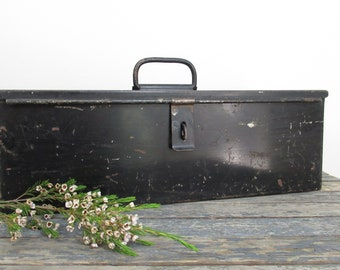 Black Metal Tool Box, Lyon Tool Box, Machinist Box, Industrial Decor, Art Supply Storage
