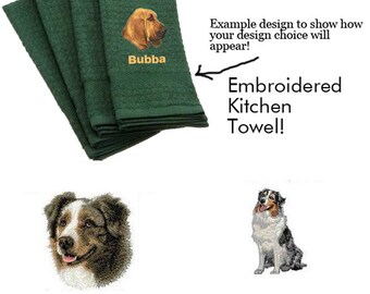 Australian Shepherd Personalized Embroidered Kitchen Towel