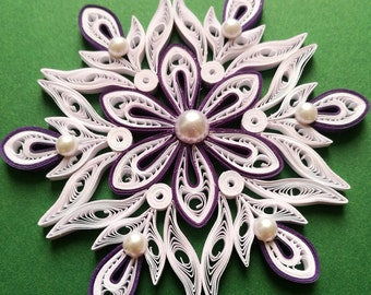 Quilled snowflake, Christmas tree ornament, Paper snowflake