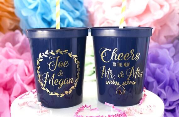 custom cups cheers to mr  u0026 mrs wedding cups personalized