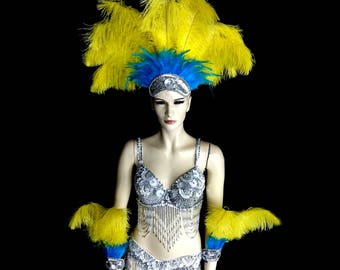 Carnival Costume Set of 1 Feather Headdress and 1 pair of Arm Pieces Showgirl Burlesque Vegas Carnival