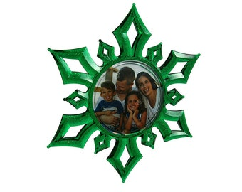 Christmas 3D Photo Snowflake Ornament GREEN