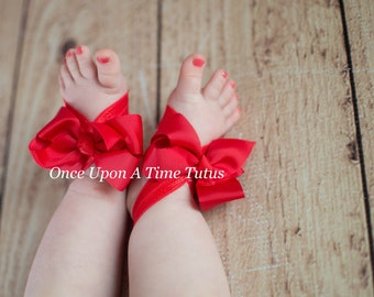 Choice Of Color - Pick Your Own - Red Grosgrain Bow Barefoot Sandals  Newborn Baby Shower Gift - Summer Infant Toddler Shoes - Ready To Ship