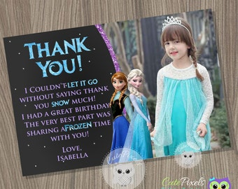 Frozen Thank You Card, Disney Frozen, Frozen Birthday, Frozen Party, Thank You Card, Frozen Card, Elsa Birthday Card, Birthday Thank You