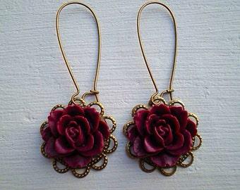 Romantic Rose Earrings/Maroon Earrings/Burgundy Earrings/Rustic wedding Earrings/Bridesmaid Earrings/Flower Earrings/Gifts For Her