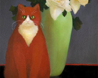 Red Cat and Vase