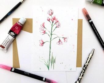 Wildflower print  // botanical print // floral watercolor // flower print //  wildflower wall art //Postcard print// A6 Print