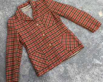 1970s 1980s Vintage Blazer - Woven Houndstooth - Olive Green Rusty Red Tan - Fall Blazer - Thanksgiving - Professional or Casual - 34 Bust
