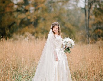 Cathedral length Wedding Bridal Veil 108 inches white, ivory, Wedding veil Long bridal Veil cathedral length veil bridal veil cut edge veil