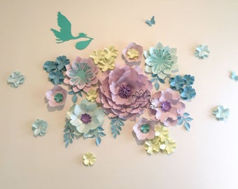 Nursery baby shower paper flowers/Paper flower wall/Wedding Backdrop/Its a boy/ Its a girl/Sweet Dessert table/Christening /Holy communion