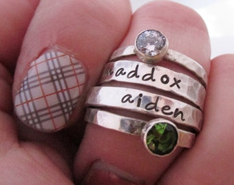 Mother's Jewelry - Hand Stamped Jewelry - Stacking Rings Set of 4  - Birthstone Mom Rings  - silver stacking rings - Personalized Jewelry