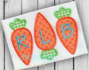 Carrot Trio Digital Applique Design - Easter Applique Design - Easter Embroidery Design - Easter Egg - Easter Bunny - Carrot