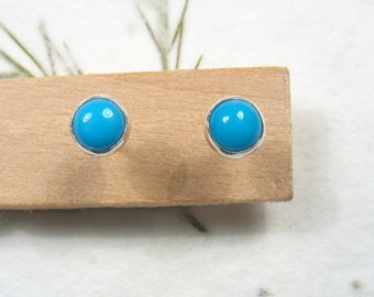 4mm cabochon Turquoise  stud earrings set in Sterling silver ,casual earrings, silver post earrings.