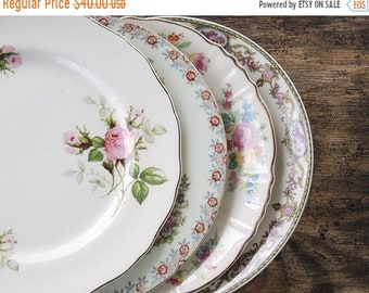 ON SALE Mismatched Pink Floral Plates Set of 4 Dessert Plates Salad Plates for Wedding Tea Party Replacement China