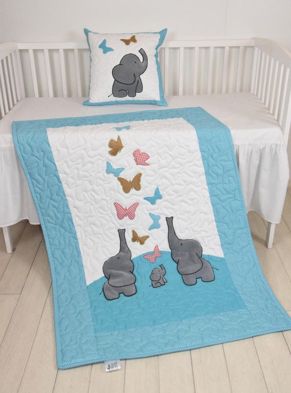 Butterfly Baby Blanket, Turquoise Blue, Gold, Salmon Pink Crib Bedding, Elephant Quilt, Safari Nursery