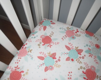 Mint, Coral & Gold Floral on White Fitted Crib Sheet