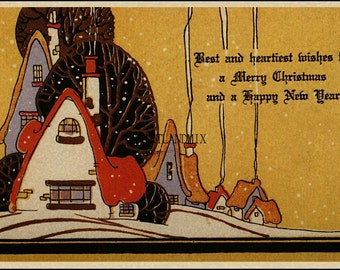 Vintage Art Deco Christmas 1930s Digital Image Download Printable