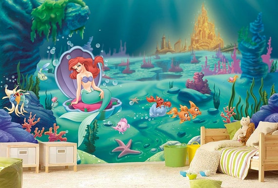 Exceptional Little Mermaid Wall Mural Ariel Wallpaper Wall Décor Wall