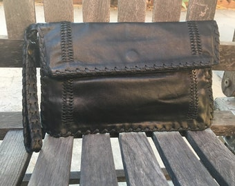 Black Leather Clutch, Leather Wristlet, Boho Clutch, Black Clutch, Cognac Leather, Purse with Wrist Strap, Bohemian Purses, Braided Leather