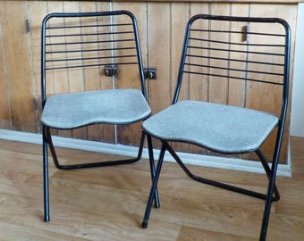 Vintage Cosco Metal Folding Chairs • Pair of Metal Folding Chairs Mid Century • Metal Folding Chair Black and Faux Tweed