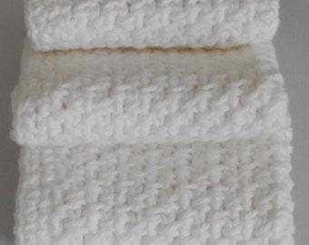 Crocheted White Wash Cloth Set - Bright Whit Wash Cloth - Cotton Wash Cloth - Cotton Crochet Wash Cloth - Hand Crocheted Wash Cloth Set