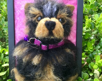 Realistic, Yorkshire Terrior, Yorkie, Dog Puppy, Bust, Wool Felted, Sculpture in Frame.