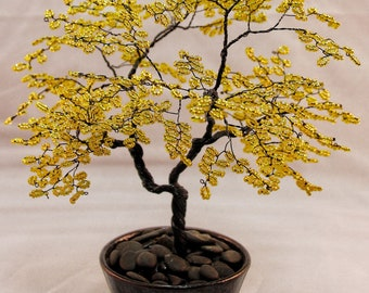 Yellow Beaded Bonsai Wire Tree Sculpture