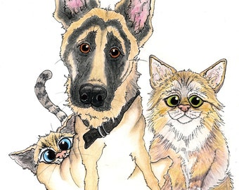 Multiple Pet Caricatures from Photos