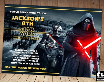 Kylo Ren Star Wars The Force Awakens Invitation