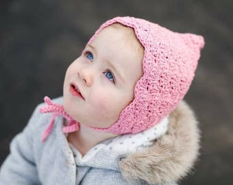 Crochet Baby Bonnet - Baby Bonnet - Pixie Bonnet - Toddler Bonnet - Infant Baby Bonnet - Pink Bonnet - Baby Girl Bonnets - Baby Girl Hats