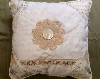 Vintage Linen Doily Pillow with French Script Waverly Linen, Vintage Buttons with hand stamped ribbon