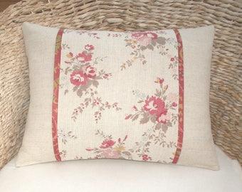 English Rose Cushion / Decorative Throw Pillow Cover - UK Designer Linen - Elanbach Zennor, Pink & Red Roses - Natural Linen - Floral Pillow