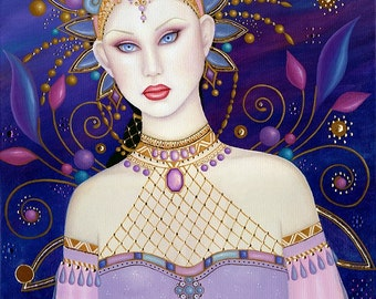 B. K. Lusk Oil Painting Art Nouveau Mehndi Fairy India Goddess Sari Gold Leaf Gypsy
