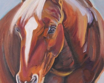 Horse Oil Painting horse art, horse painting horse artwork, equine art, chestnut, sorrel horse 12 x 16 original oil painting,