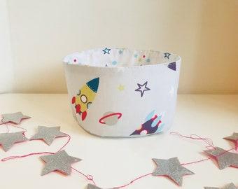 Fabric storage basket / storage pouch / basket theme rockets and space