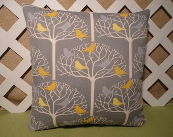 Birds in Trees Pillow Cover in Grey and Yellow / Bird Tree Pillow Cover / Grey Pillow /  Bird Pillow / Accent Pillow / 18 x 18 Pillow
