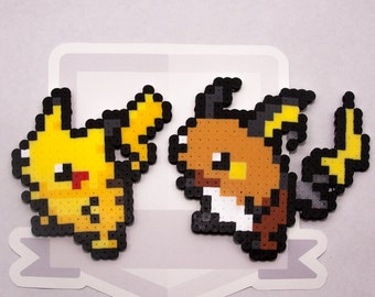 Pikachu Family Perler Bead Sprite ||  Pokemon || Gaming, Accessory, Wearable, Gift, Red, Blue, Magnet, Keychain, Necklace
