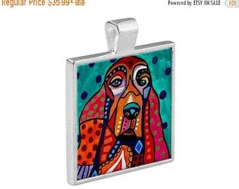 Irish Setter Dog Folk Art Jewelry - Pendant Metal  Gift Art Heather Galler Gift - Pet Lovers Modern Abstract Memorial Gift Ve