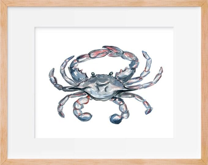 Blue Crab 103 Print, Crab Art, Watercolor Crab Print, Beach House Decor, Nautical Decor, Crab Decor, Nautical Wall Art, Coastal Wall Art