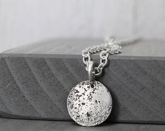 Moon Necklace, Lunar Necklace, New Moon Necklace, Lunar Jewelry, Solar Jewelry, Moon Jewelry, Galaxy Necklace, Silver Moon, STerling Silver