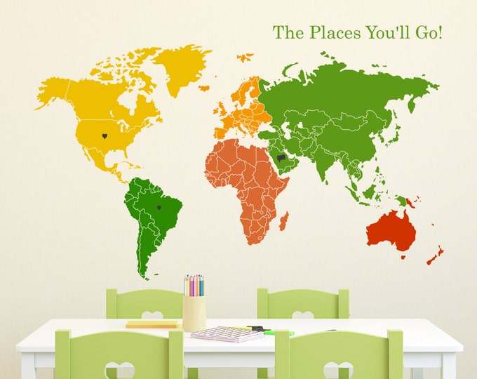 Featured listing image: World Map of Continents & Map Markers Wall Decal