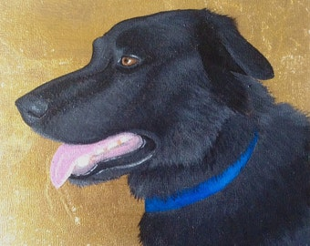 Custom Pet Portrait, Gold Leaf, Personalized Memorial Dog Cat Painting, Birthday Gift, For Husband Wife, Mom Dad, Parent Christmas Holiday