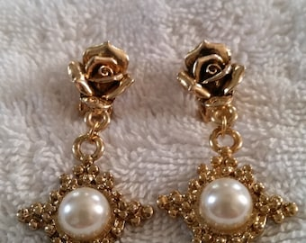 Rose Clip On Earrings Gold Tone with dangling Faux Pearl Centered in a Star