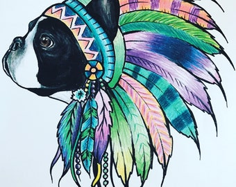 Boston terrier dog pet portrait headress indian chief colorful feather print 8x10 wall art painting