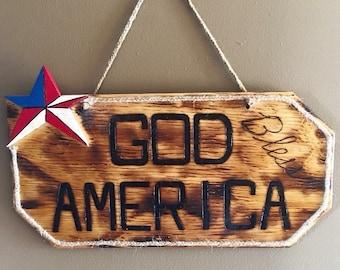 God Bless America Pallet Wood Sign - Patriotic Decor