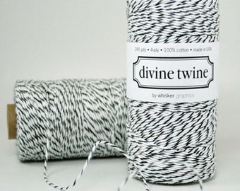 LICORICE BLACK Bakers Twine Black and White Stripe Black Twine 240 Yards - Cotton Baker's Twines
